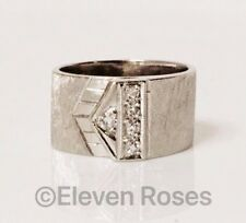 Vintage 585 14k White Gold Diamond Buckle Ring Wide Etched Textured Band