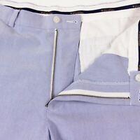Brooks Brothers Clark Mens 38 x 32 Sky Blue Flat Front Cotton Summer Pants