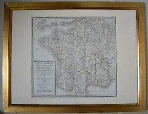 1799 Carte itinéraire de la république française divisée dépt Chanlaire + cadre