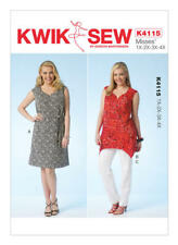 Kwik Sew Sewing Pattern 4115 Women's 1X-4XL Notch-Neck Dress Tunic Pants Belt