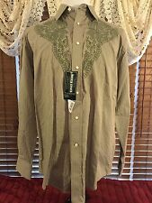 Men's NEW ROUGH STOCK L Large Tan W/Green Embroidery LS Pearl Snap Western Shirt