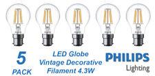 5 x Philips LED 4W Vintage Filament Light Globes / Bulbs B22 Bayonet BC A60