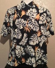 Tommy Bahama Men's Size Large 100% Silk Black Leaf Relax Hawaiian Camp Shirt L