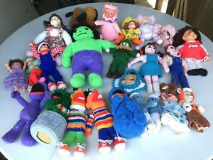 Lot of 24Vintage Hand Crochet Doll Toy Handmade,HULK,sesame St. Ooak