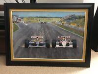 NIGEL MANSELL Williams AYRTON SENNA McLaren PAINTING Formula One 1 GRAND PRIX F1