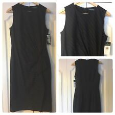 Ralph Lauren Womens Wool Black Pinstripe Gathered Slitted Dress Sz 2