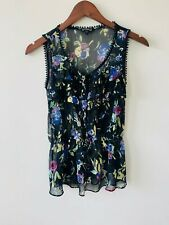 Womens Express Black Sheer Floral Shirt Top Blouse Size Small
