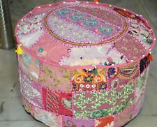 Indian Ottoman Seat Pouffe Cover Embroidered Patchwork Cotton Round Footstool