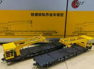China Railway Retractable Rail Operation Boom flat car (Twin pack)  HO 1:87 NEW