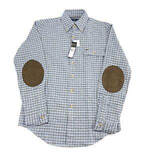 Polo Ralph Lauren Men's Shirt Small Blue Check Plaid Suede Elbow Patch Button Up