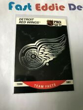 PRO SET NHL HOCKEY 1990 DETROIT RED WINGS  TEAM FACTS CARD 570 EXCELLENT