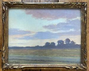 Tableau Impressionnisme Paysage Campagne au couchant Peinture signée Ludet Duval