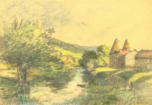 George William Collins (1863-1949) - Crayon, River Landscape at Kent