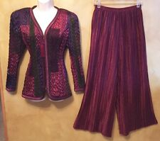 JEANNE MARC COLLECTION Vintage Womens Sz 8 / 10 Burgundy Pants Outfit GORGEOUS!