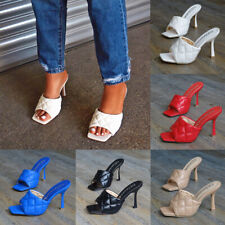 Womens PU Leather Stiletto High Heels Sandals Square Toe Peep Toe Slippers Shoes