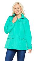 Susan Graver Zip Front Anorak Jacket w/ Polka Dot Lining & Hood, Jade, Size M