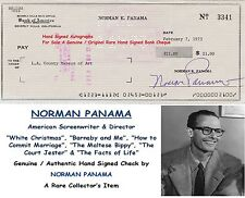 NORMAN PANAMA   SCREEN WRITER DIRECTOR   GENUINE SIGNED BANK CHEQUE    RARE ITEM