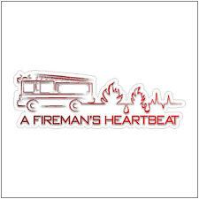 A Fireman's Heartbeat Decal Car Sticker Removable Vinyl Fireman Laptop Decal
