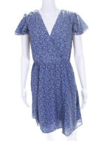French Connection Womens Printed Wrap V-Neck Floral Dress Blue Size 10