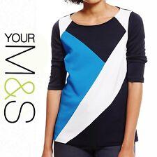 NEW Ladies Women's M&S PLUS Tri-Colour Block Scoop Neck Top - Size 16 to 24