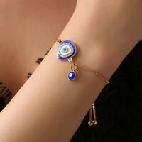 Women's Fashion Jewelry Lucky Crystal Evil Eye Gold Plated Chain Charm Bracelet