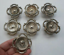 Lot 7 Vintage Solid Brass Round Pull handles Knobs Drawer Cabinet Closet 2 3/8''