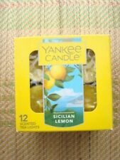 YANKEE CANDLE TEALIGHTS   SICILIAN LEMON    BOX OF 12  ~NEW~