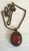 Vintage Nina Ricci Bronze Glowing Large Red Cabochon Necklace