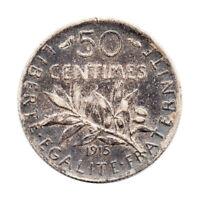 KM# 854 - 50 Centimes - Silver (.835) - France 1915 (F)