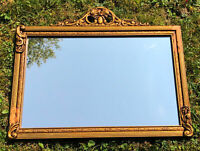 Antique Vintage Gilded Wood Wall Mirror Gold Gilt Ornate French Provincial