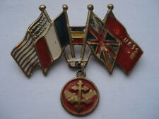 CWW2 VINTAGE ALLIED FLAGS&FREE FRANCE DANGLER SWEETHEARTS SOUVENIR PIN BROOCH