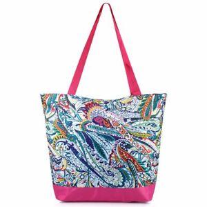 Women Large Lightweight Zip Carry Tote Shoulder Bag Handbag for Travel - Paisley