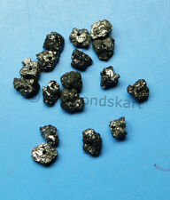 0.99 ct lot of rare natural black color raw diamond beads for jewel opaque N R $