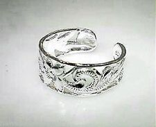 7mm Hawaiian Rhodium Over Sterling Silver Pierced Heritage Long Scrolls Toe Ring