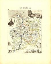 Carte du Département d'ILLE et VILAINE, vers 1880. Migeon
