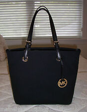 NWT Michael Kors Jet Set Grab Bag Convert Tote Bag Canvas & Leather BLACK