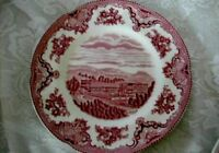 Collectible Staffordshire Red/Pink Castle Scenic Plate - Made in England