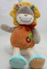 Mots d'enfants doudou velours lion orange beige 32 cm