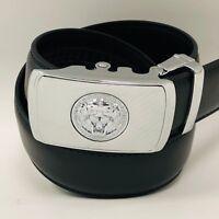 Fashion Designer Lion Head Genuine Leather Automatic Sliding Ratchet Buckle Belt