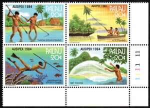 Palau 55-58a Bl/4, MNH. fishing methods. Underwater spear fishing, 1984