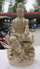 """17"""" Dehua White Porcelain Kwan-yin Guanyin Quan Yin Goddess Hold Ruyi Statue"""