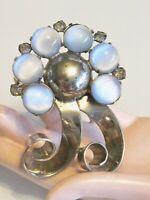 VINTAGE 1930'S 1040'S NATALIE NAT LEVY SWIRL RIBBON PIN BROOCH BLUE GLASS STONES
