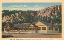 1940s East Glacier Store Lobby Coffee Shop Montana Teich linen postcard 975