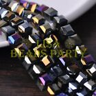 New 10pcs 10mm Cube Square Faceted Crystal Glass Loose Spacer Beads Black AB