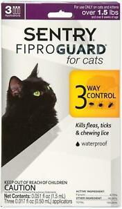 SENTRY FIPROGUARD for CATS 3 MONTHS Treatments Kills FLEAS TICKS LICE WATERPROOF