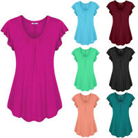 Women Plus Size Loose V Neck Solid Color Short Sleeve Top Pleated Blouse T-shirt