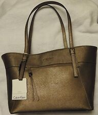 NEW Calvin Klein CK handbag Key Item Leather Tote Shopper Bronze $228 H3JA12BQ