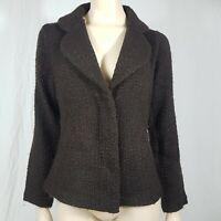 Monsoon Brown Tweed Wool Blend Fitted Jacket Blazer Size UK 12 Orange Fleck