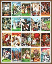 SET 20 PCS! Alice in Wonderland CHESS Black Cat KING QUEEN Russian Art Postcard