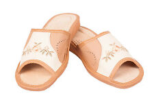Womens 100% Eco Leather Slip On Sandals Slippers Ladies Mule Beach Brown & Cream